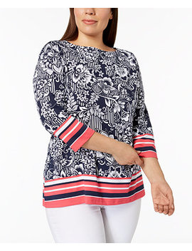 Plus Size Printed Boat Neck Top, Created For Macy's by Charter Club