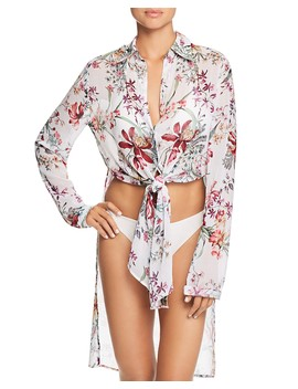 Botanical Tie Front Shirt Dress Swim Cover Up by Carmen Marc Valvo