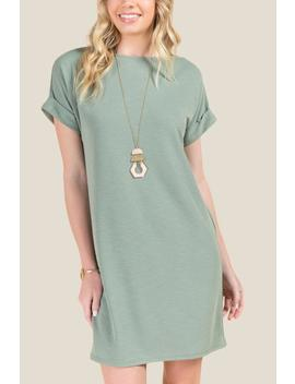 Marisa Rolled Sleeve Knit Dress by Francesca's