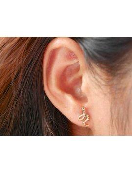 14 K Gold Plated Minimalist Snake Earrings   Snake Stud Earrings   Baby Snake Earrings   Snake Earrings   Reptile Earrings by Hyphen Minimalist
