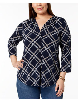 Plus Size Printed V Neck Top, Created For Macy's by Charter Club
