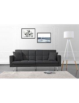 Modern Plush Tufted Linen Split Back Living Room Futon, Sofa For Small Space (Dark Grey) by Divano Roma Furniture