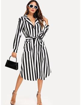 Stripe Contrast Tie Waist Shirt Dress by Sheinside