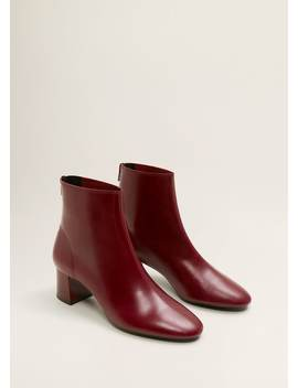 Кожаные ботинки на каблуке by Mango