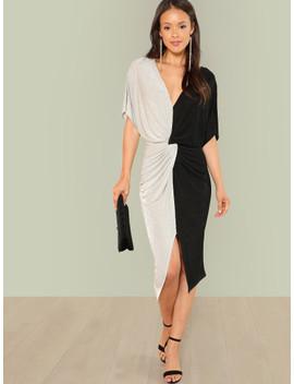 Two Tone Twist Waist Dress by Shein