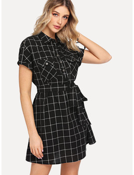 Rolled Tab Sleeve Pocket Front Belted Grid Dress by Shein