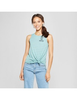 Women's Sip Sip Horray Embroidered Stripe Graphic Tank Top   Zoe+Liv   Green by Shop All Zoe+Liv