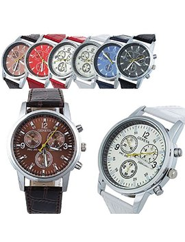 Geneva Men's Leather Quartz Watch 6 Pcs Fiiliip(Mixed Color) by Fiiliip