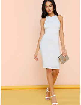 Solid Sleeveless Pencil Dress by Shein