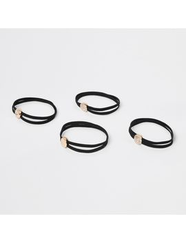 Black Studded Hair Tie Pack by River Island