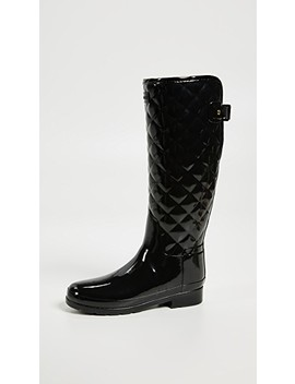 refined-gloss-quilt-tall-boots by hunter-boots