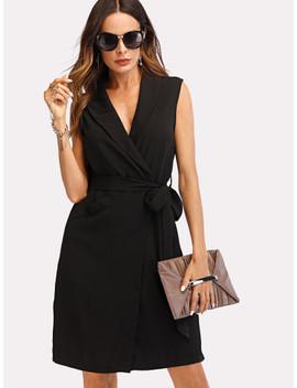 Shawl Collar Belted Wrap Dress by Sheinside
