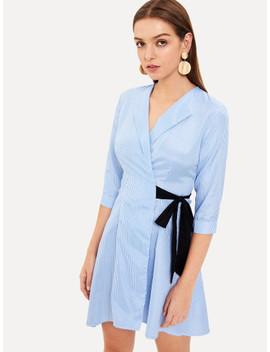 Wrap Waist Knot Pleated Striped Dress by Shein