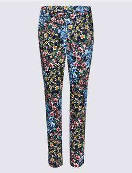 Cotton Rich 7/8th Crop Slim Leg Trousers by Marks & Spencer