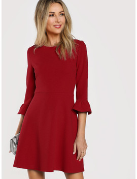 Ruffle Cuff Fit And Flare Dress by Shein