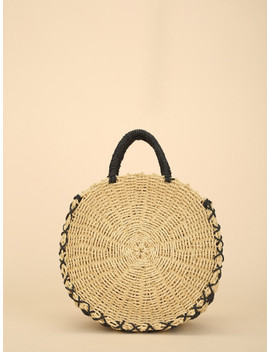 Round Straw Tote Bag by Sheinside