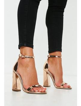 Rose Gold Flared Block Barely There Heels by Missguided
