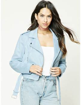 Forever 21 Women Blue Solid Crop Biker Jacket by Forever 21
