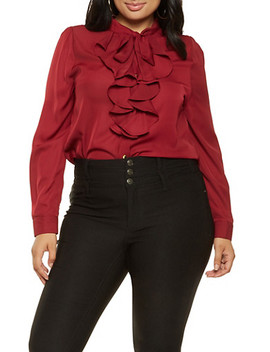 Plus Size Ruffled Tie Neck Blouse by Rainbow