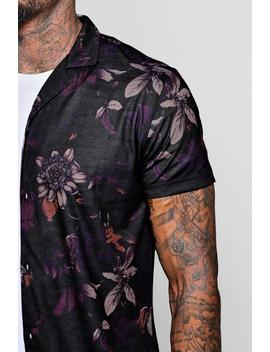 Dark Floral Short Sleeve Revere Shirt by Boohoo