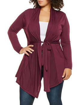 Plus Size Tie Waist Cardigan by Rainbow