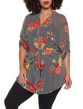 Plus Size Printed Tunic Top by Rainbow