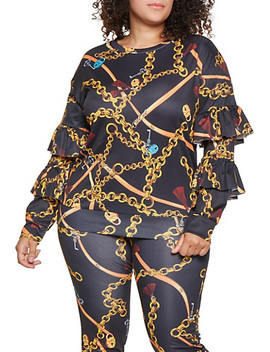 Plus Size Tiered Sleeve Printed Sweatshirt Plus Size Printed Joggers by Rainbow