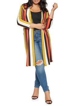 Plus Size Striped Soft Knit Duster by Rainbow