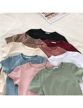 Plain Short Sleeve T Shirt by Windflower