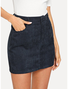 Pocket Front Corduroy Skirt by Shein