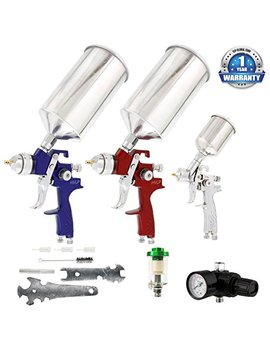 Tcp Global Brand Hvlp Spray Gun Set   3 Sprayguns With Cups, Air Regulator & Maintenance Kit For All Auto Paint, Primer, Topcoat & Touch Up, One Year Warranty by Tcp Global