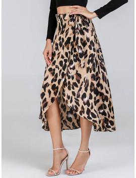 Waist Knot Leopard Print Skirt by Shein