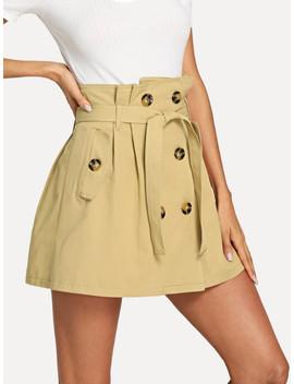Double Button Self Tie Waist Skirt by Sheinside