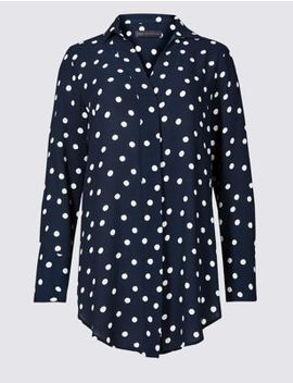 Spotted Longline Long Sleeve Shirt by Marks & Spencer