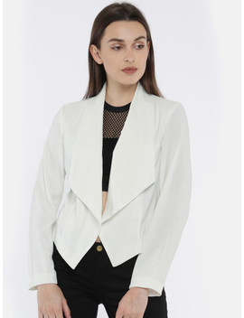 Vero Moda Women Off White Solid Tailored Jacket by Vero Moda