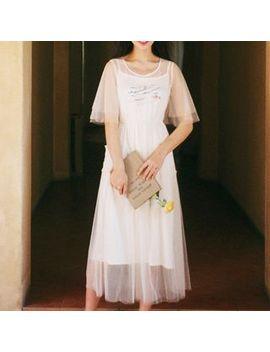 Set: Embroidered Elbow Sleeve Midi Dress + Slipdress by Puramu