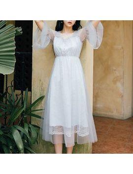 Elbow Sleeve A Line Midi Dress by Puramu