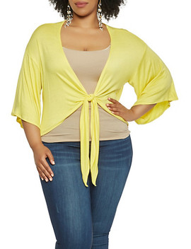 Plus Size Tie Front Bell Sleeve Top by Rainbow