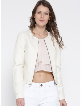 Vero Moda Women Cream Coloured Solid Biker Jacket by Vero Moda