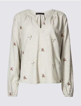 Embroidered Long Sleeve Blouse by Marks & Spencer