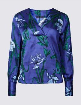 Satin Floral Print V Neck Long Sleeve Blouse by Marks & Spencer