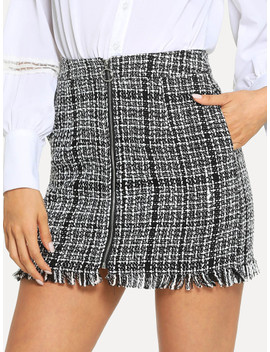 Zip Front Frayed Tweed Skirt by Shein