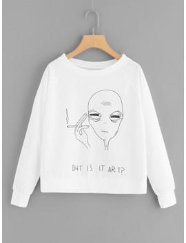 Plus Cartoon And Letter Print Sweatshirt by Sheinside