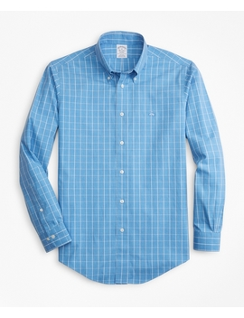 Non Iron Regent Fit Windowpane Sport Shirt by Brooks Brothers