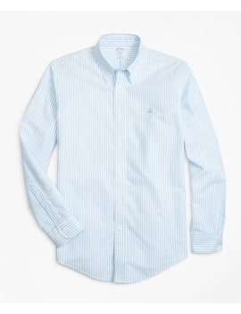 Non Iron Regent Fit Heathered Oxford Stripe Sport Shirt by Brooks Brothers