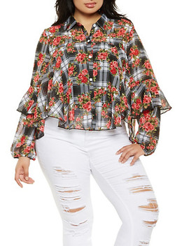 Plus Size Floral Plaid Shirt by Rainbow