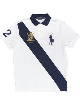 Polo Ralph Lauren Men's Big Pony Crest Custom Slim Fit Mesh Sash Polo Shirt (Medium, White Mu) by Polo Ralph Lauren