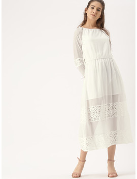 Dress Berry Women White Printed A Line Dress by Dress Berry
