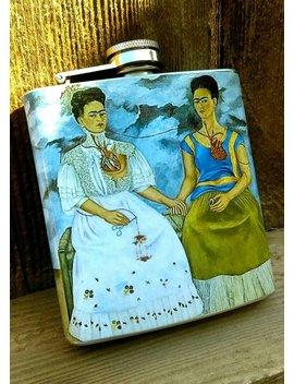 6oz Las Dos Fridas, Frida Kahlo Flask....Arte Mexicano by Cy Dshop