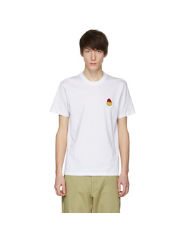 White Limited Edition Smiley Edition Patch T Shirt by Ami Alexandre Mattiussi